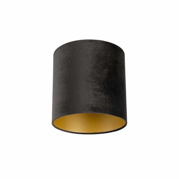 Lampenschirm-velours-25/25/25-schwarz/gold