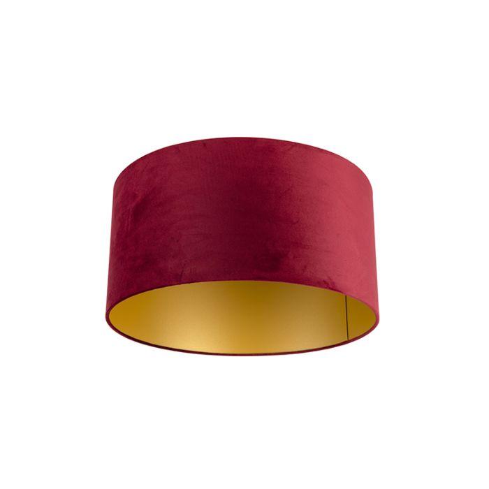 Velour-Lampenschirm-rot-50/50/25-mit-goldener-Innenseite