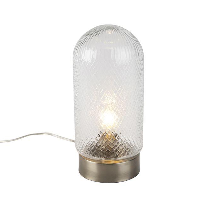 Vintage-Tischlampe-zylindrisch-Glas-mit-Gold---Bardo