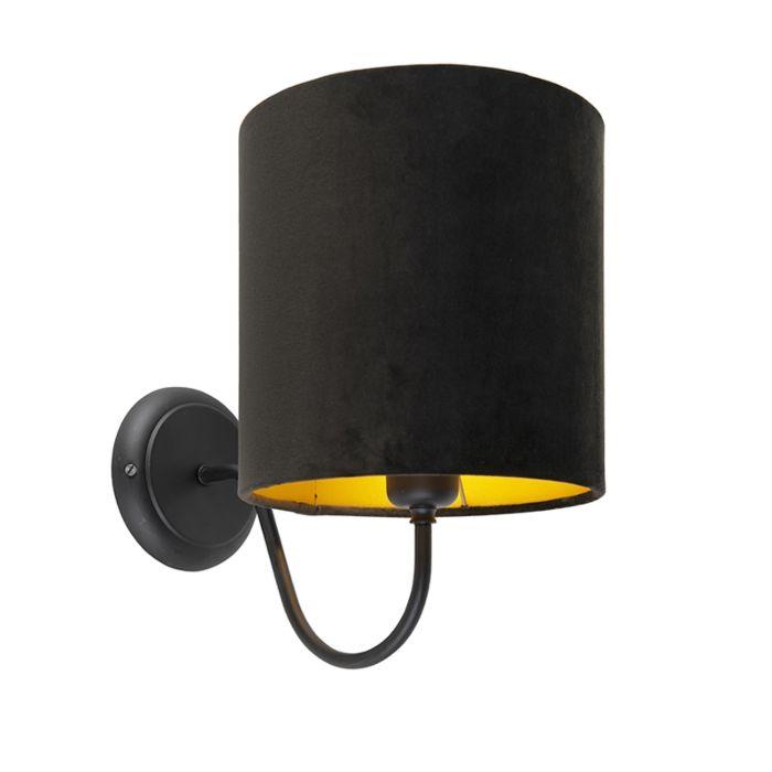 Klassische-schwarze-Wandleuchte-mit-schwarzem-Veloursschirm---Matt