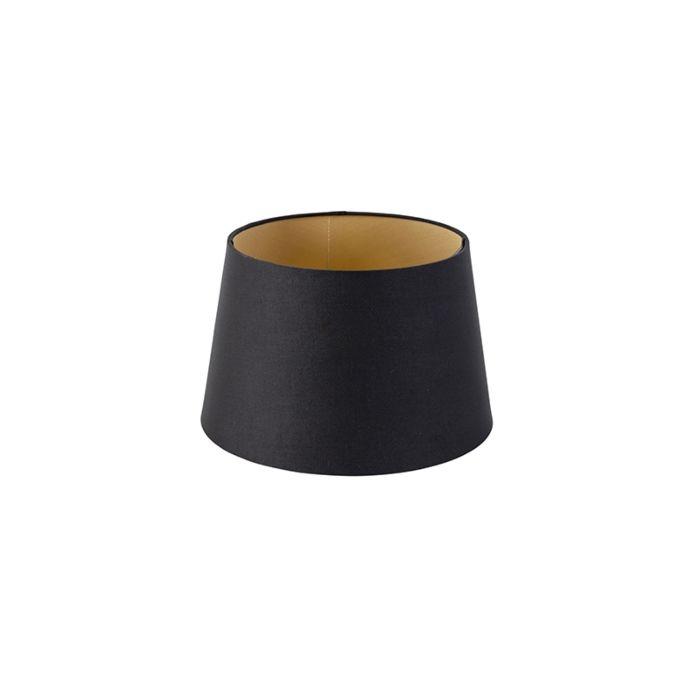Baumwolllampenschirm-schwarz-25/20/16-mit-goldenem-Interieur