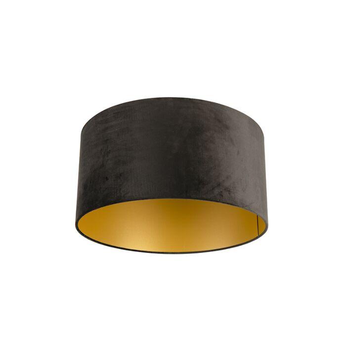 Velour-Lampenschirm-schwarz-50/50/25-mit-goldener-Innenseite
