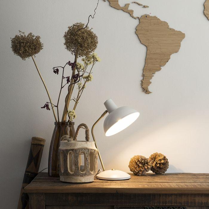 Retro-Tischlampe-weiß-mit-Bronze---Milou