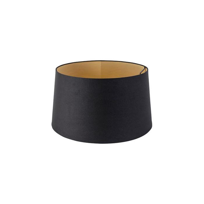 Baumwolllampenschirm-schwarz-40/35/22-mit-goldenem-Interieur
