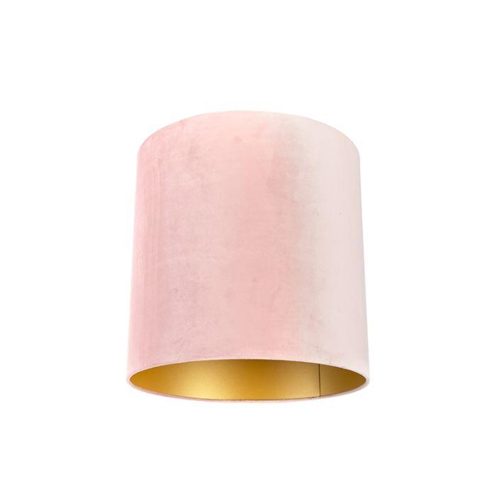 Velour-Lampenschirm-pink-40/40/40-mit-goldener-Innenseite