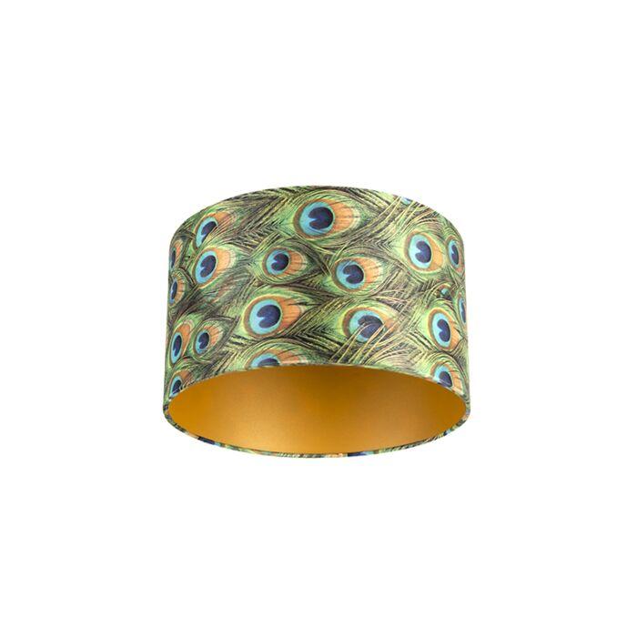 Velour-Lampenschirm-Pfau-Design-35/35/20-mit-goldenem-Interieur