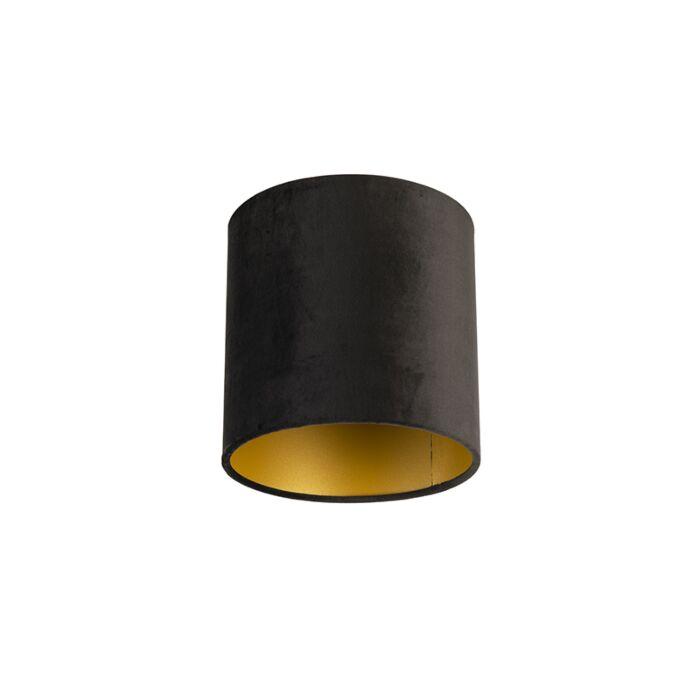 Velour-Lampenschirm-schwarz-20/20/20-mit-goldener-Innenseite