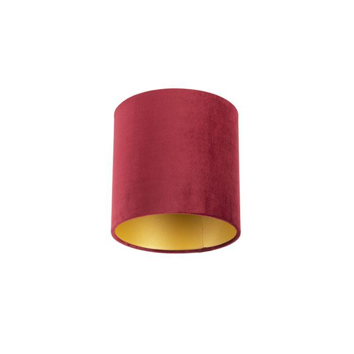Velour-Lampenschirm-rot-20/20/20-mit-goldener-Innenseite