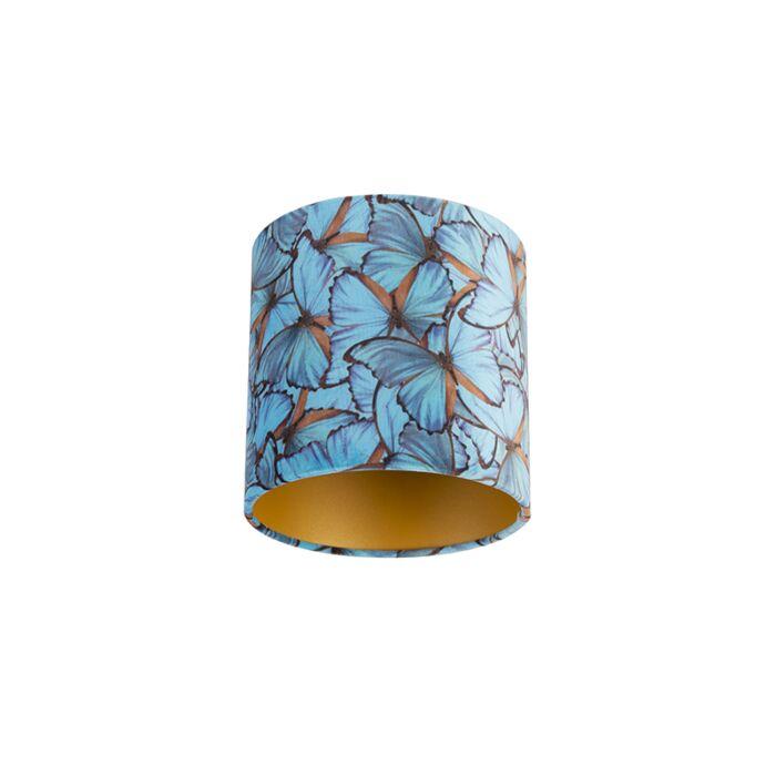 Velour-Lampenschirm-Schmetterling-Design-20/20/20-goldene-Innenseite