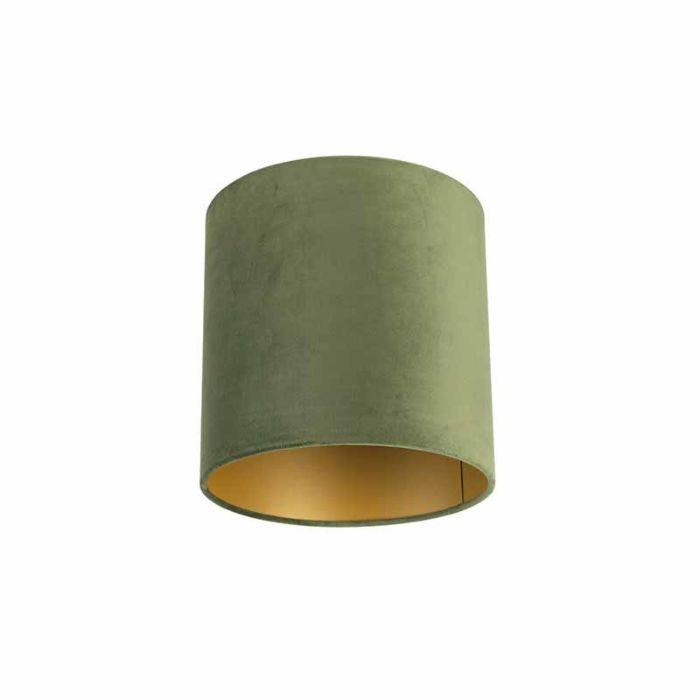 Velour-Lampenschirm-grün-25/25/25-mit-goldener-Innenseite