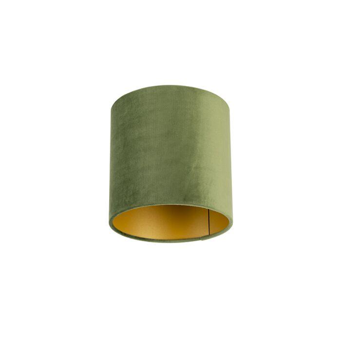 Velour-Lampenschirm-grün-20/20/20-mit-goldener-Innenseite