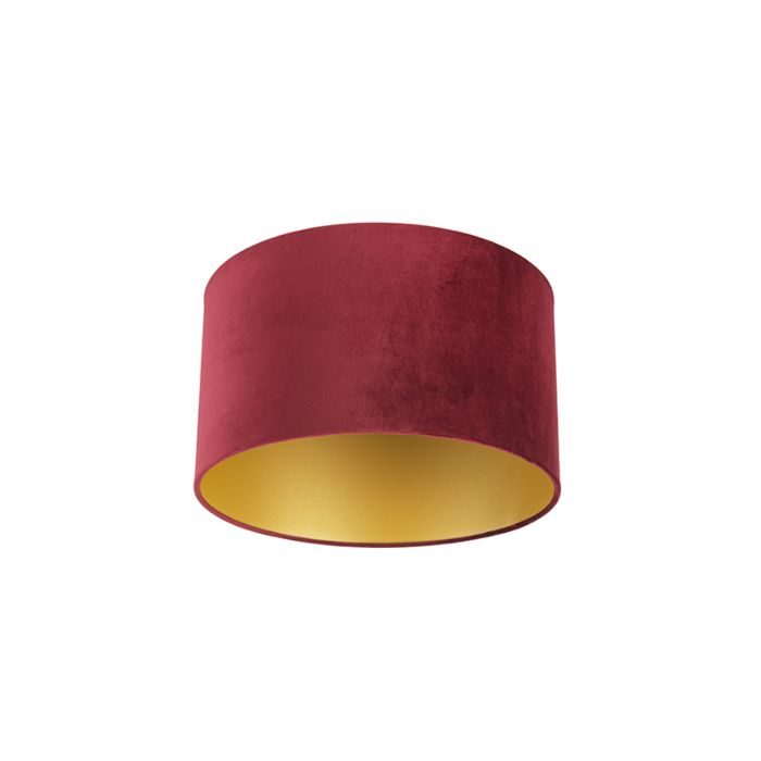 Velour-Lampenschirm-rot-35/35/20-mit-goldener-Innenseite