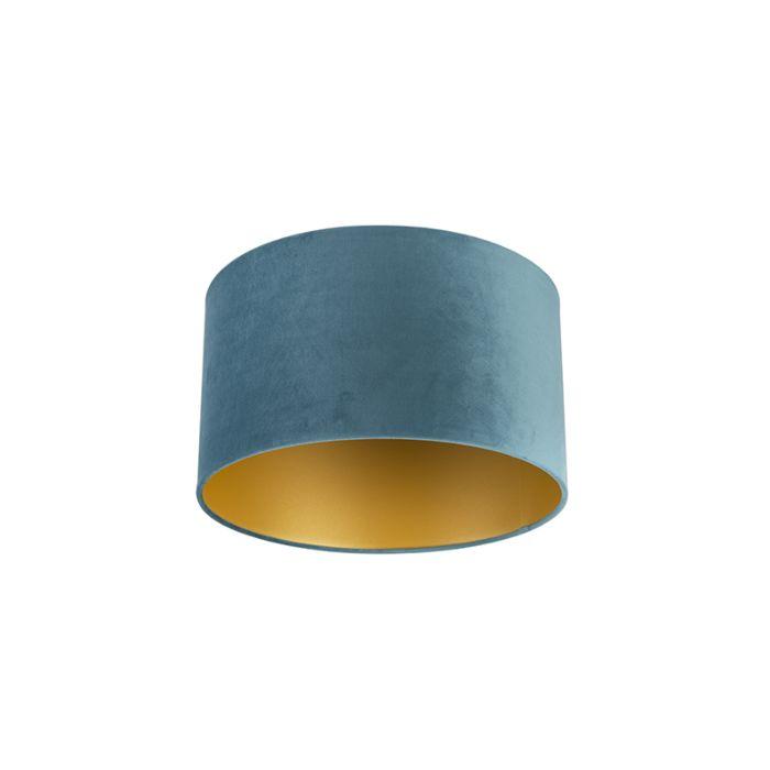 Velour-Lampenschirm-blau-35/35/20-mit-goldener-Innenseite