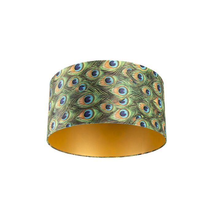 Velour-Lampenschirm-Pfau-Design-50/50/25-mit-goldenem-Interieur