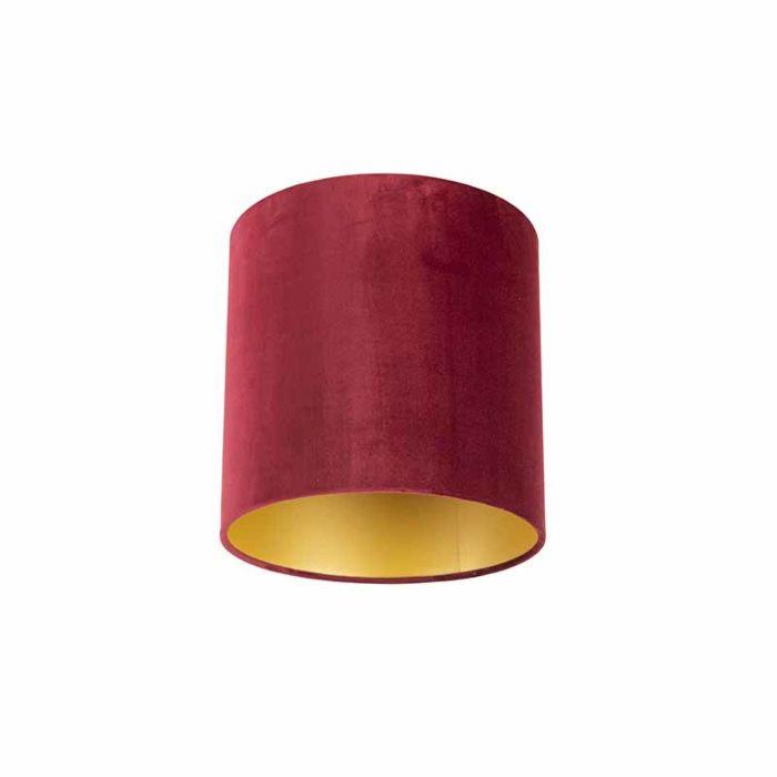 Velour-Lampenschirm-rot-25/25/25-mit-goldener-Innenseite