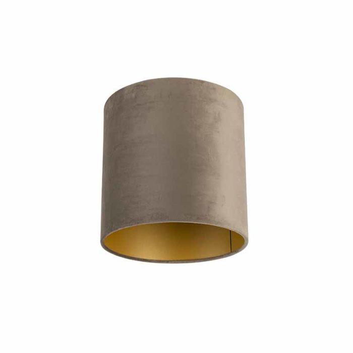 Velour-Lampenschirm-taupe-25/25/25-mit-goldener-Innenseite