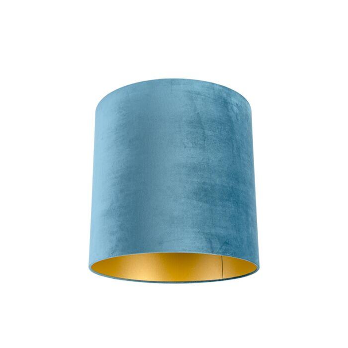 Velour-Lampenschirm-blau-40/40/40-mit-goldener-Innenseite