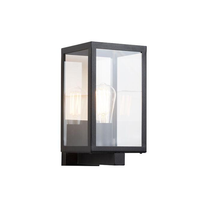 Moderne-rechteckige-Außenwandleuchte-schwarz-mit-Glas---Rotterdam