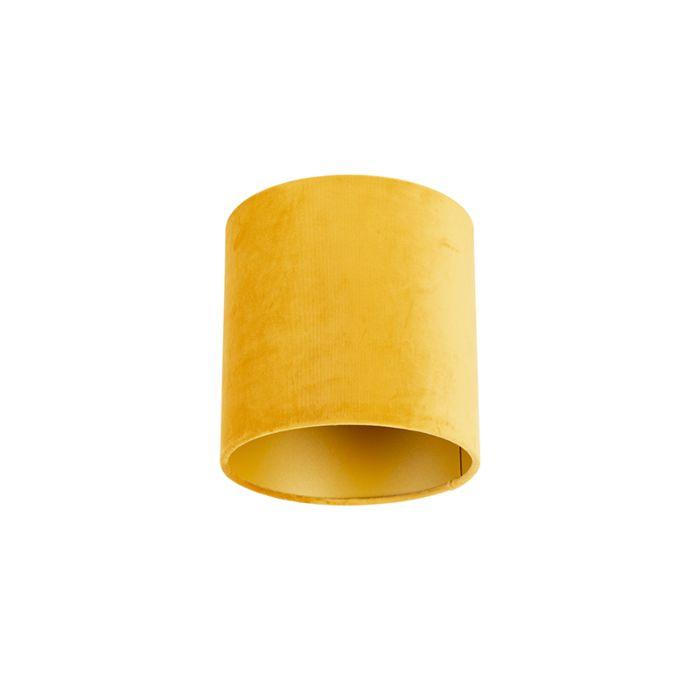 Velours-Lampenschirm-gelb-20/20/20-mit-goldener-Innenseite