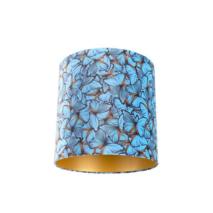 Velour-Lampenschirm-Schmetterling-Design-40/40/40-goldene-Innenseite