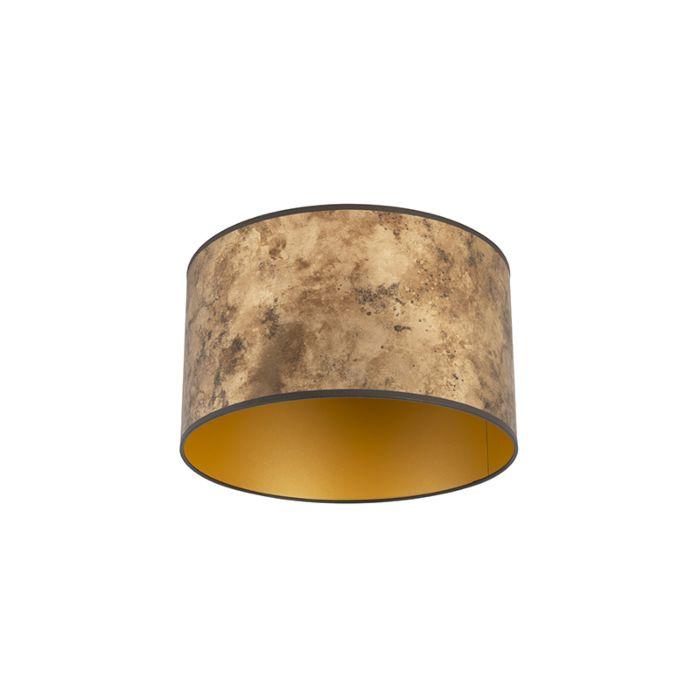 Lampenschirm-Bronze-35/35/20-mit-goldenem-Interieur