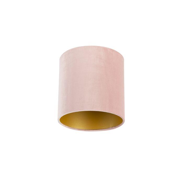 Velour-Lampenschirm-pink-20/20/20-mit-goldener-Innenseite
