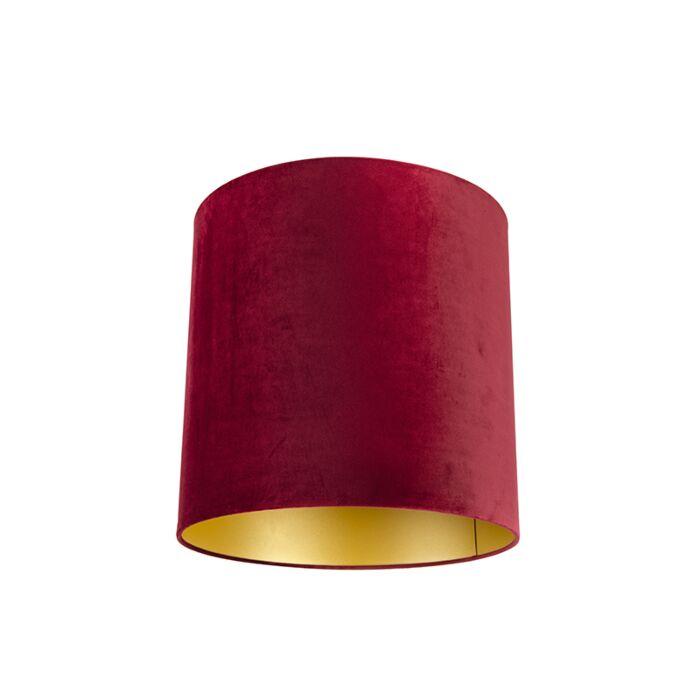 Velour-Lampenschirm-rot-40/40/40-mit-goldener-Innenseite