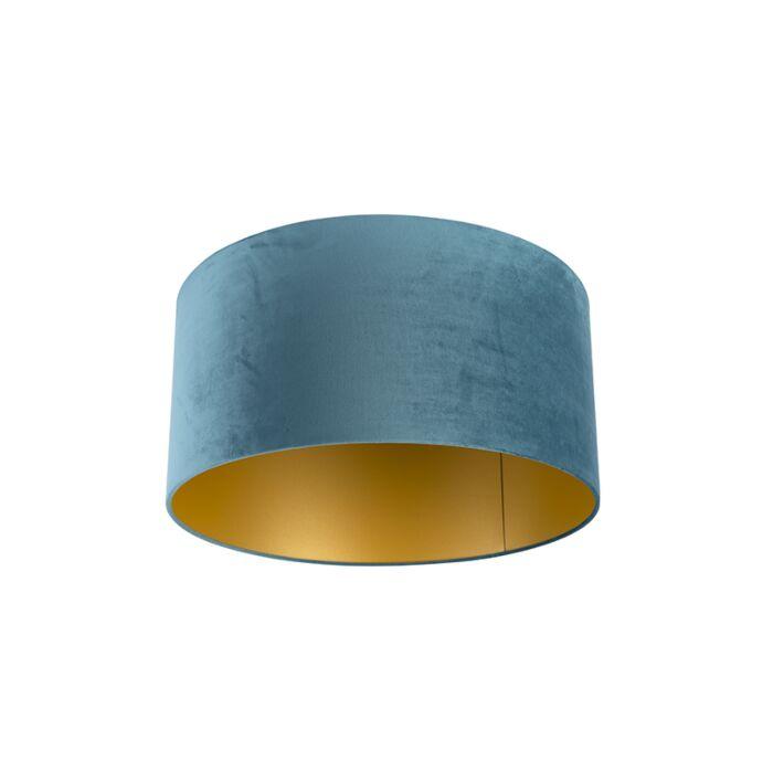 Velour-Lampenschirm-blau-50/50/25-mit-goldener-Innenseite