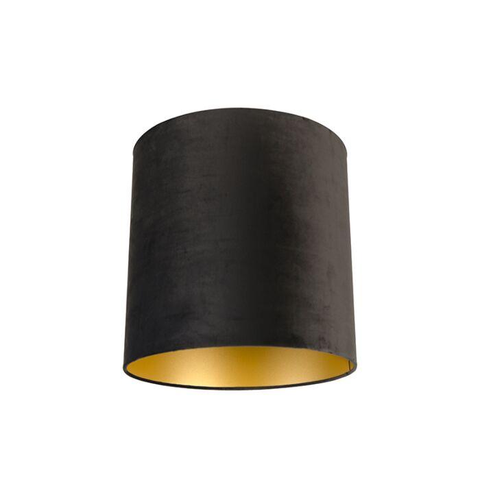 Velour-Lampenschirm-schwarz-40/40/40-mit-goldener-Innenseite