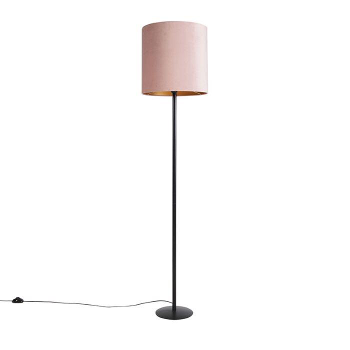 Schwarze-Stehlampe-mit-Veloursschirm-Rosa-mit-Gold-40-cm---Simplo