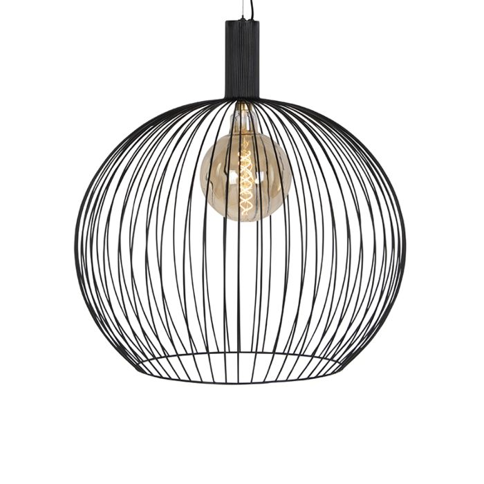 Moderne-runde-Hängelampe-schwarz-70-cm---Wire