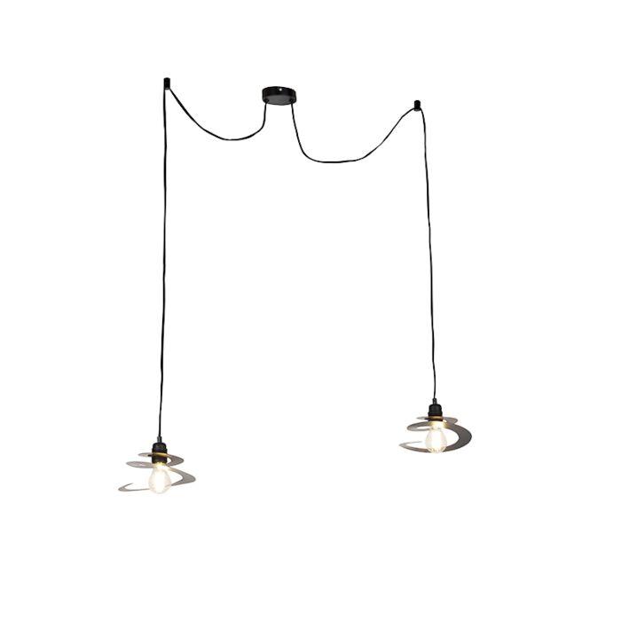 Design-Hängelampe-2-Leuchten-mit-Spiralschirm-20-cm---Scroll