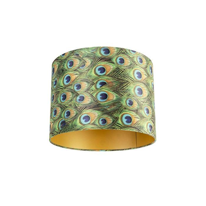 Lampenschirm-Velours-40/40/30-Pfau---Gold