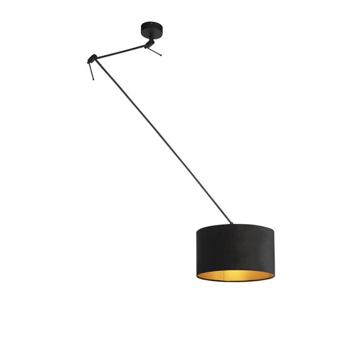 Hängelampe-mit-Veloursschirm-schwarz-mit-Gold-35-cm---Blitz-I-schwarz