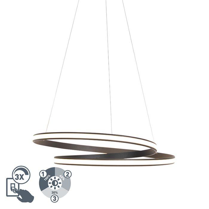 Moderne-Hängelampe-schwarz-74cm-inkl.-LED-3-Stufen-dimmbar---Rowan