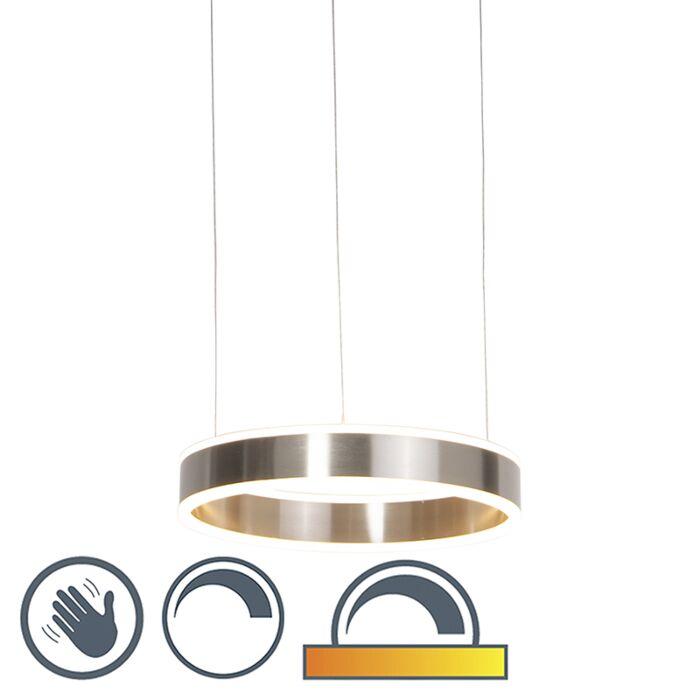 Moderne-Hängelampe-Stahl-inkl.-LED-40-cm-dunkel-bis-warm---Ollie
