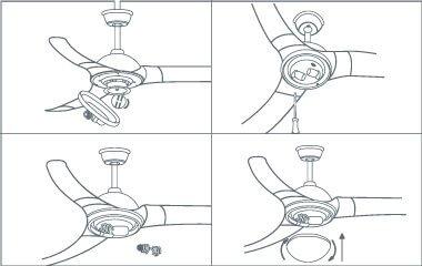Setze das Leuchtmittel ein und befestige den Lampenschirm